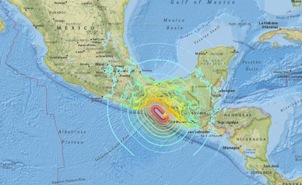 A USGS map of the magnitude 8.1 earthquake that struck Mexico overnight.