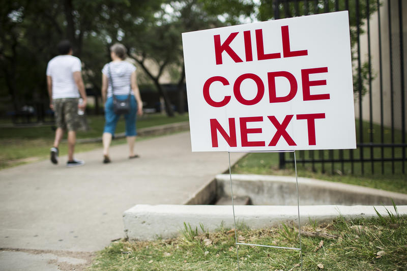 A sign outside a forum on CodeNEXT at Anderson High School in April.