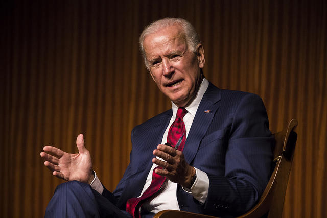 Former Vice Presidentr Joe Biden speaks with LBJ Library Director Mark K. Updegrove at the LBJ Library.