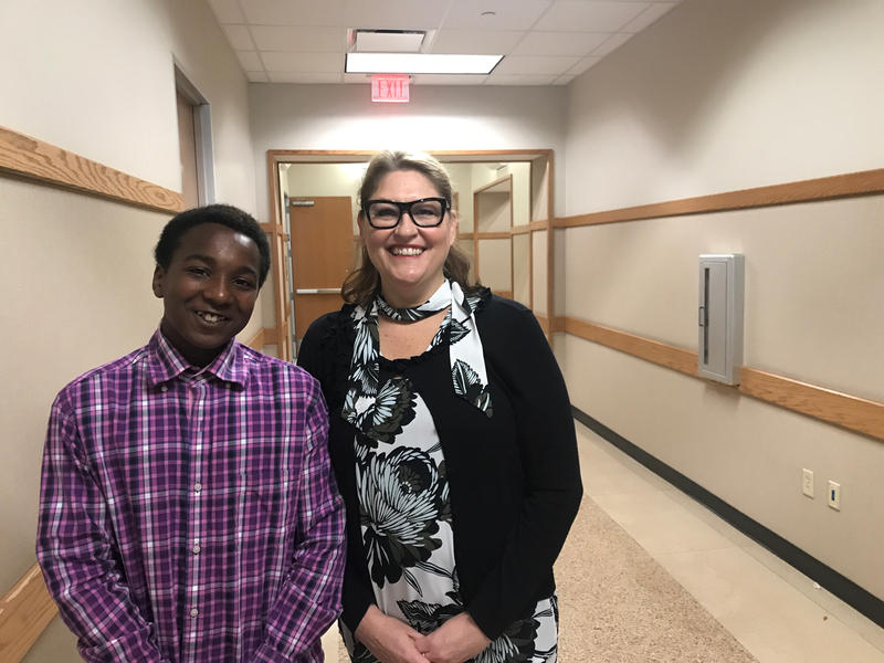 """Teacher KristynBooth has mentored seventh-grader Joe West since he started at Martin Middle School. Joe says his attendance has improved and his behavior is now """"off the chain."""""""