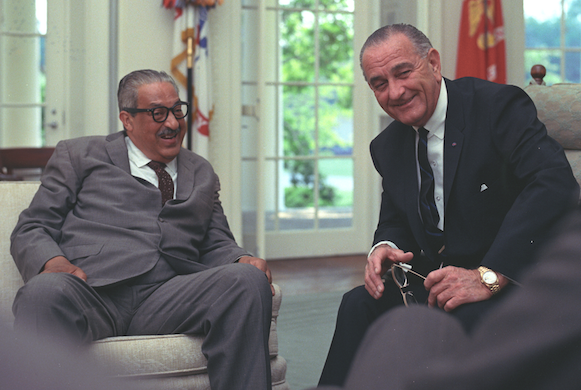 A meeting between Thurgood Marshall and President Johnson on June 13, 1967, the day Johnson nominated Marshall to the Supreme Court
