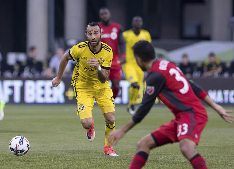 Columbus Crew midfielder Justin Meram chases down a ball against Toronto in May at Mapfre Stadium. The Crew host Toronto on Tuesday in the first of a two-game conference final.