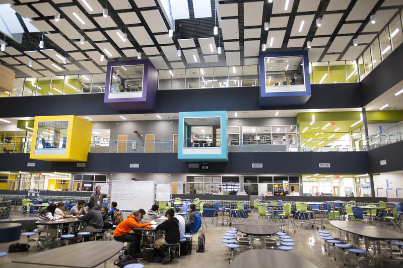 At Manor New Tech Middle School, students learn in open spaces like the cafeteria, which also functions as a library.