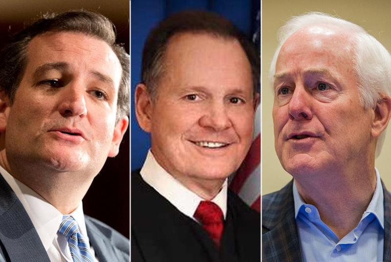 Alabama Senate candidate Roy Moore (center), flanked by U.S. Sens. Ted Cruz and John Cornyn.