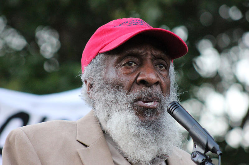 Dick Gregory speaks at a rally against police brutality in Washington, D.C., in 2015.
