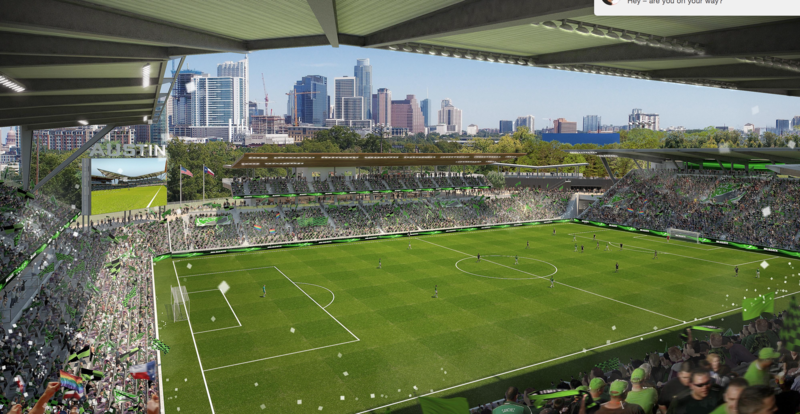 An artist rendering of a Major League Soccer stadium located just off Lady Bird Lake, west of Lamar Boulevard.