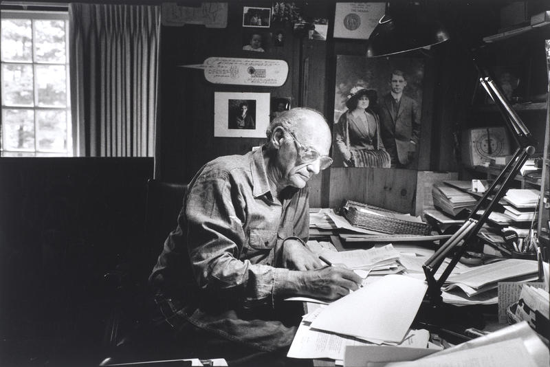 Arthur Miller in his study in Roxbury, Connecticut, 1987.