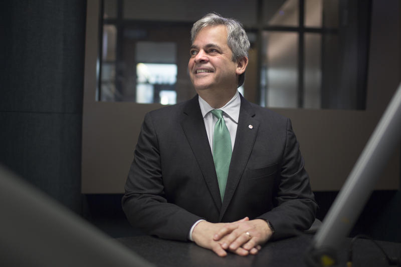 Austin Mayor Steve Adler poses before an interview with KUT's Jennifer Stayton on Monday.