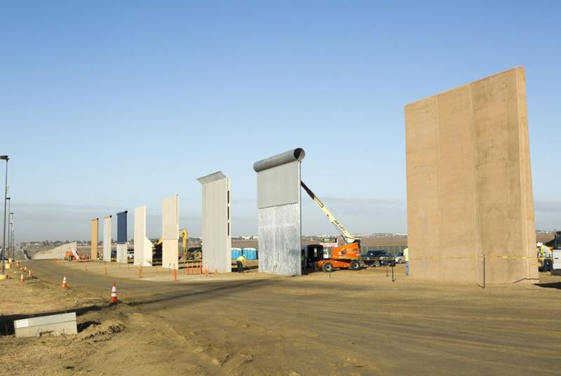 Views of different border wall prototypes as they take shape near the Otay Mesa Port of Entry on the U.S.-Mexico border, south of San Diego.