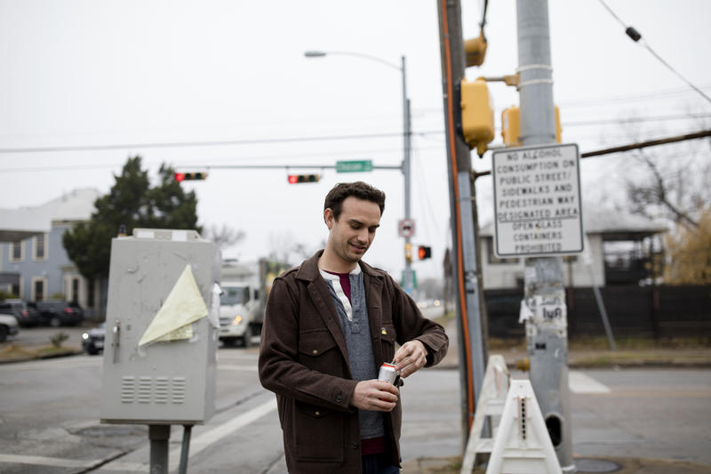 Colter Sonneville has become an evangelist for drinking in public in Austin.
