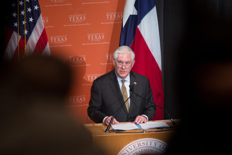 Secretary of State Rex Tillerson outlines the Trump administration's priorities for the Western Hemisphere at UT-Austin on Thursday.