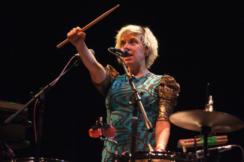 Tune-Yards perform at the KUTX birthday bash at Bass Concert Hall in 2015.