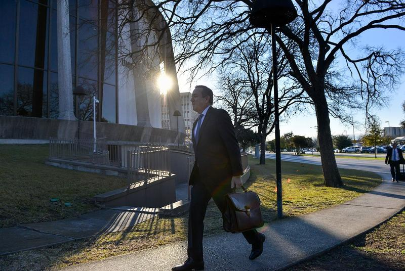 State Sen. Carlos Uresti, D-San Antonio, walks into the federal courthouse in San Antonio on Monday morning, Feb. 12, 2018, as his trial continues.