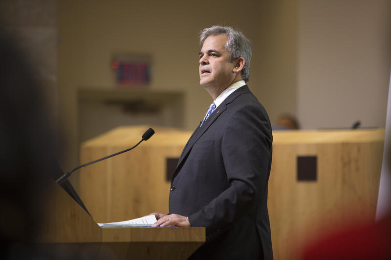 Austin Mayor Steve Adler delivers the State of the City address on Tuesday.