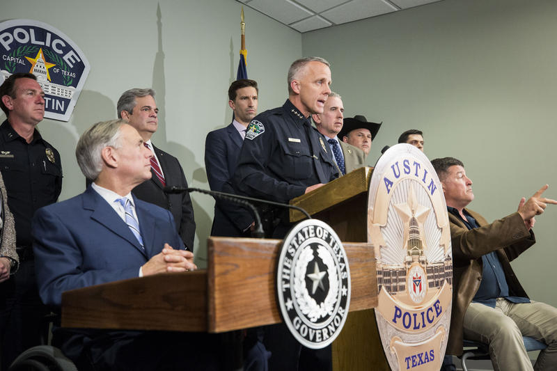 Interim Austin Police Chief Brian Manley briefed the media on the existence of a video confession of Austin bombing suspect Mark Conditt on March 21.