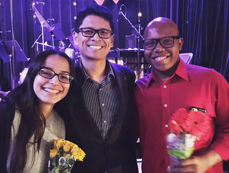 Draylen Mason poses with his orchestra director, Hermes Camcho (center), and Mayareli Albiter at the Golden Hornet's Second Annual Young Composer Concert last year.