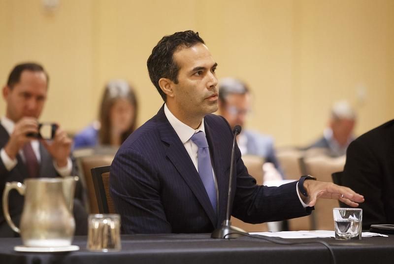 Texas Land Commissioner George P. Bush speaks to a Texas House panel on Hurricane Harvey in October.