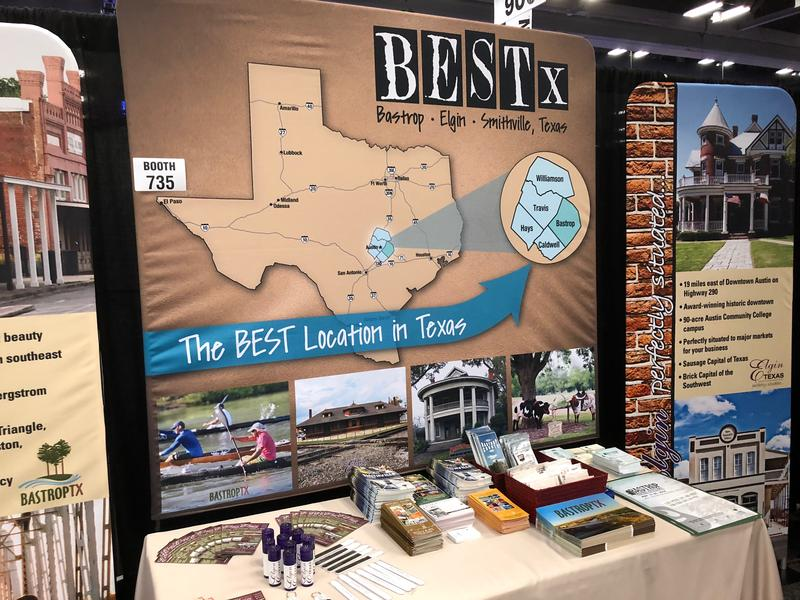 "The ""BEST Partnership"" booth at SXSW promotes development and tourism in Bastrop, Elgin and Smithville."