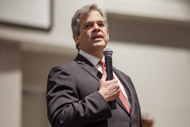 Austin Mayor Steve Adler addresses a town hall meeting about the serial bombings at the Greater Mount Zion Church in East Austin on March 15.