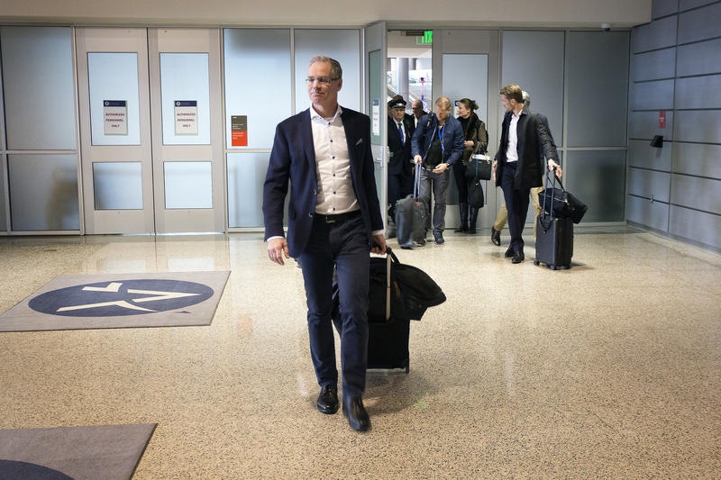 Rickard Gustafson, CEO of Scandinavian Airlines, and his crew arrive at Austin-Bergstrom International Airport after a nonstop flight from Stockholm on Thursday.