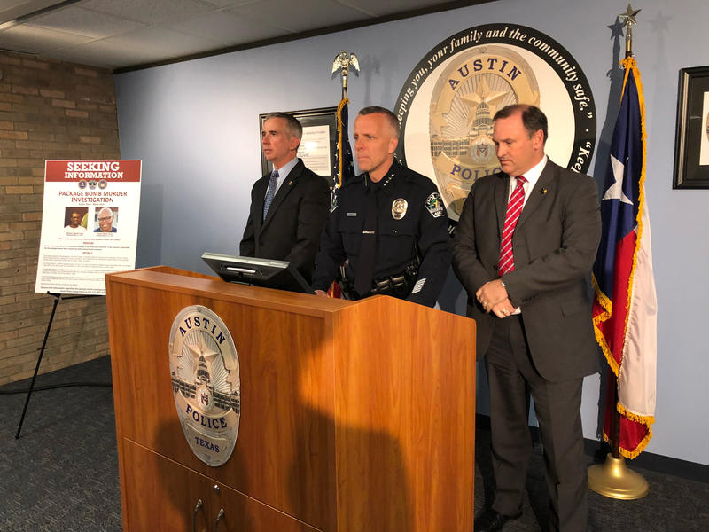 Interim Austin Police Chief Brian Manley, flanked by ATF Special Agent Fred Milanowski and FBI Special Agent Christopher Combs, provides an update Sunday on the investigation into a string of package bombs.