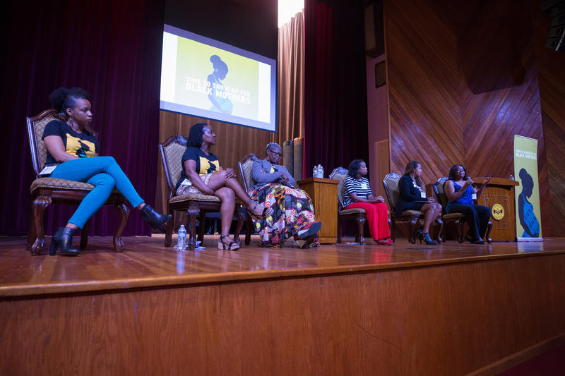 A panel discusses racial inequalities in maternal deaths during the Time to Show Up for Black Women summit at Huston-Tillotson University on Tuesday.
