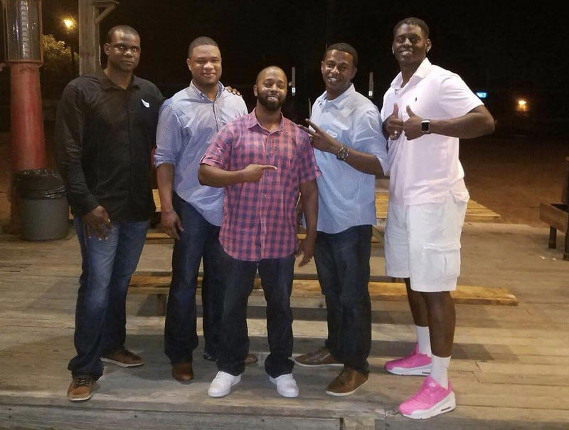 Anthony Stephan House (left) with his former Pflugerville High classmates - Lee Rusk, Kevin Cotton, Jeff Lewis and Norrell Waynewood - at their 20-year class reunion in 2016.