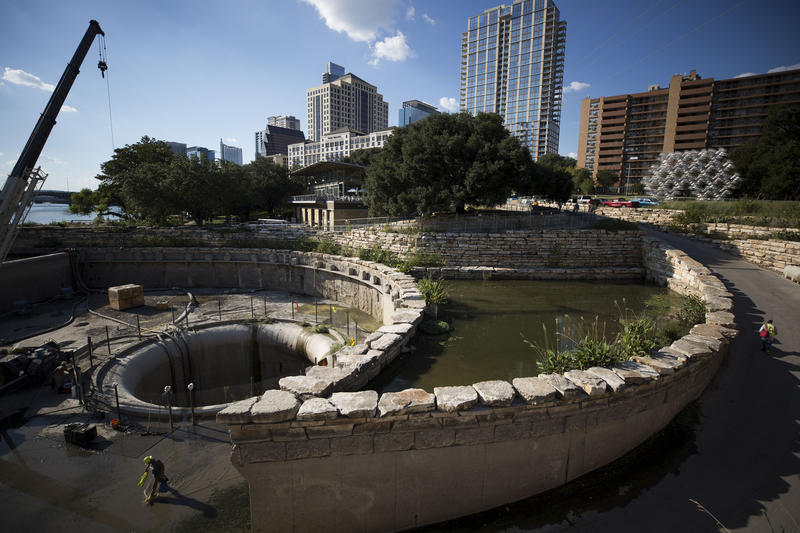 Construction last year at the mouth of Waller Creek into Lady Bird Lake.