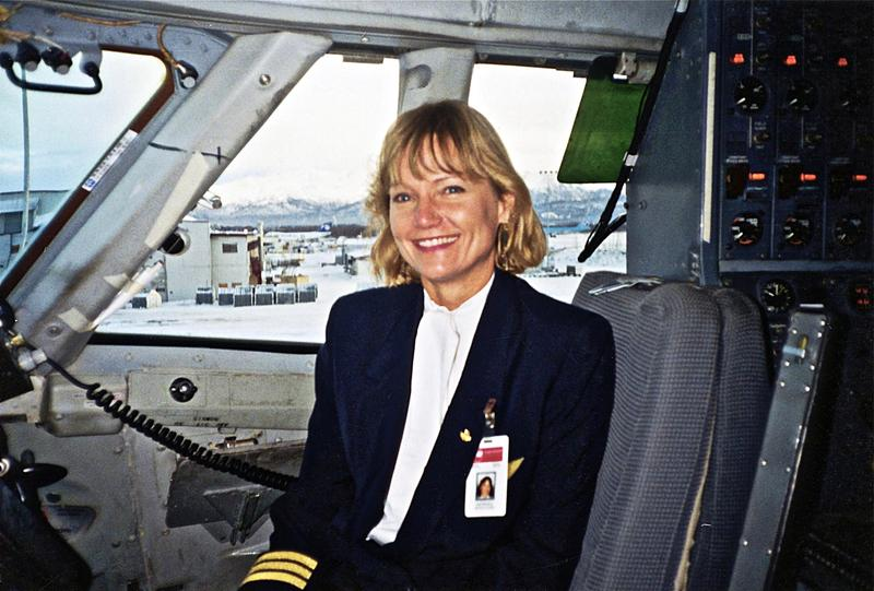 Northwest Airlines pilot Kathy McCullough in the cockpit.