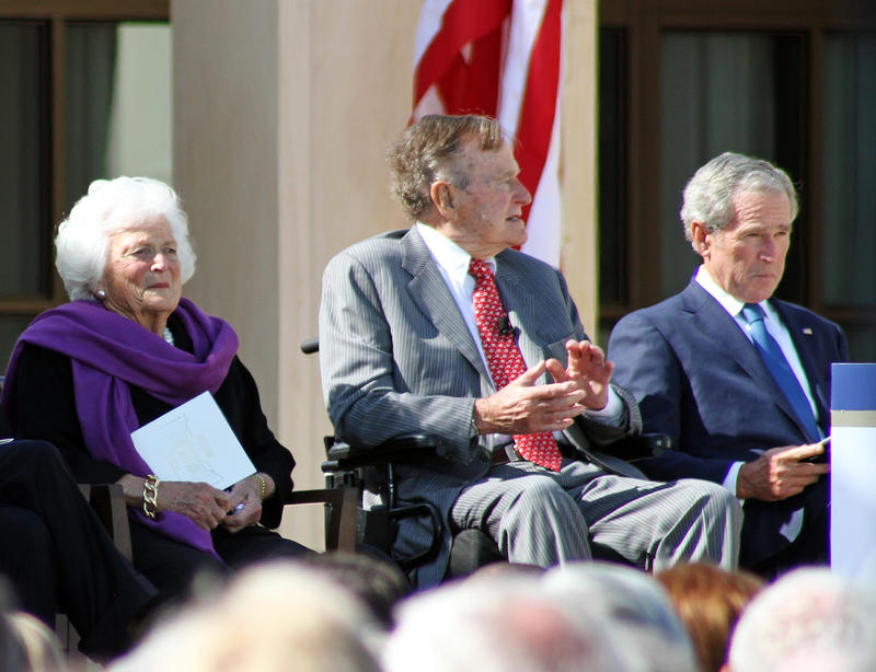 Barbara Bush attends the opening of the George W. Bush Presidential Library in Dallas with her husband, George H.W. Bush, and son George W. Bush on April 25 2013.