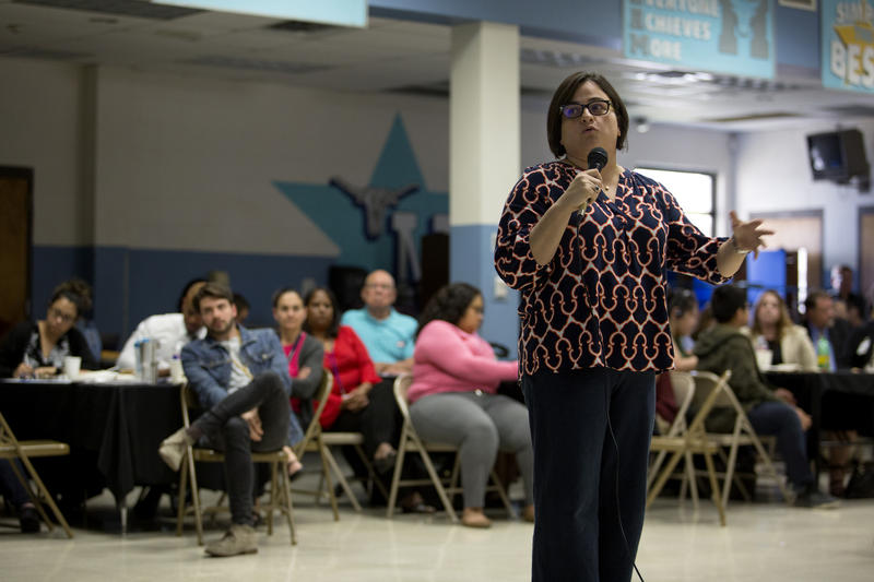 Yanira Oliveras, an assistant professor at UT Tyler, talks about the benefits of project-based learning, at Mendez Middle School last week.