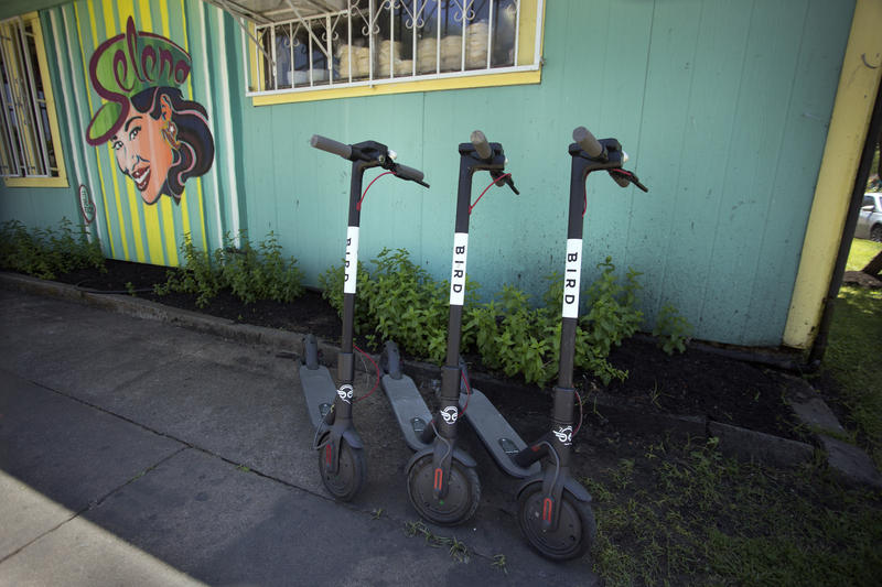 Bird scooters are lined up outside Taqueria Chapala in East Austin.