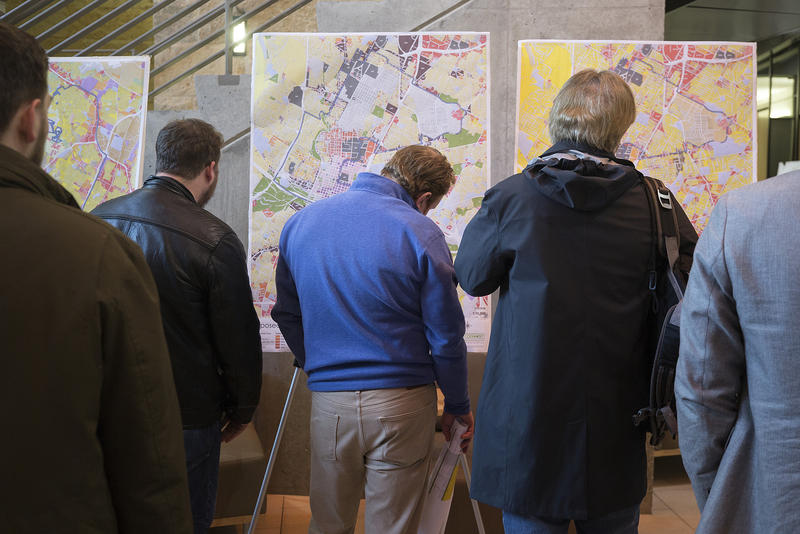 Residents inspect CodeNEXT maps at an open house at Austin City Hall in February.