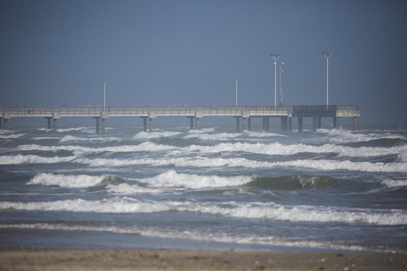 A view of a fishing pier in Port Aransas.