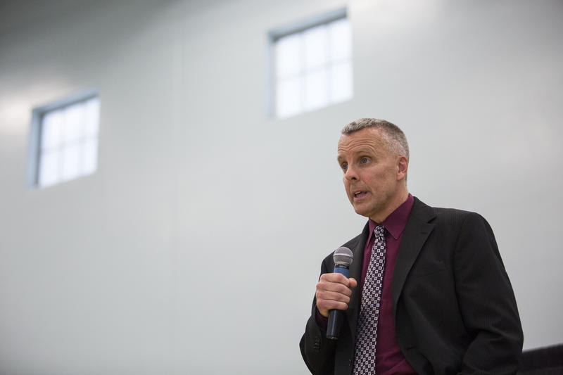 Interim Austin Police Chief Brian Manley spoke to Austinites at the Turner-Roberts Recreation Center last night at a city forum moderated by KLRU's Judy Maggio.
