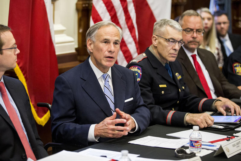 Gov. Greg Abbott on May 22, 2018 at the first of three roundtable discussions on school shootings in Texas.