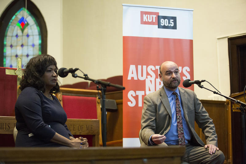 "Sheryl Cole and Jose ""Chito"" Vela debate Wednesday in a forum moderated by KUT."