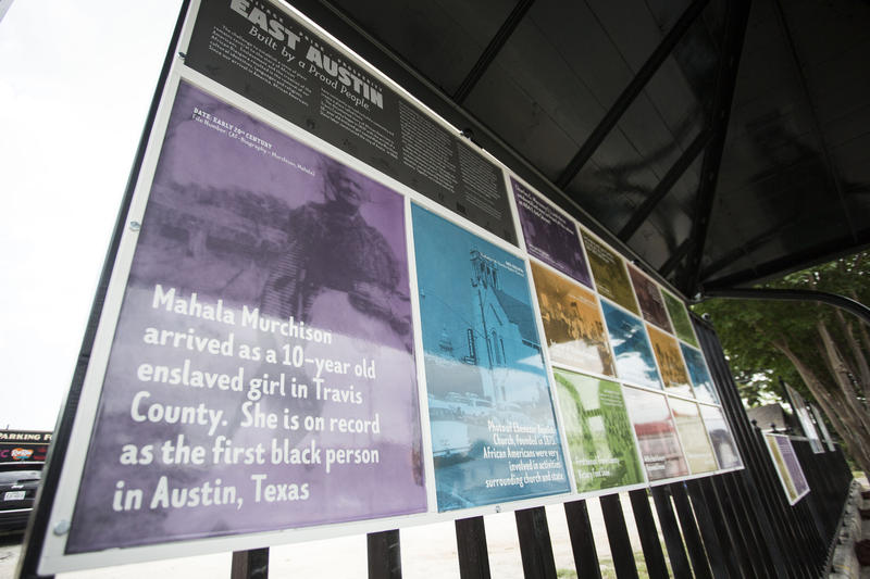 A new art installation at a bus stop at 12th and Chicon streets recalls aspects of Austin's African-American history.