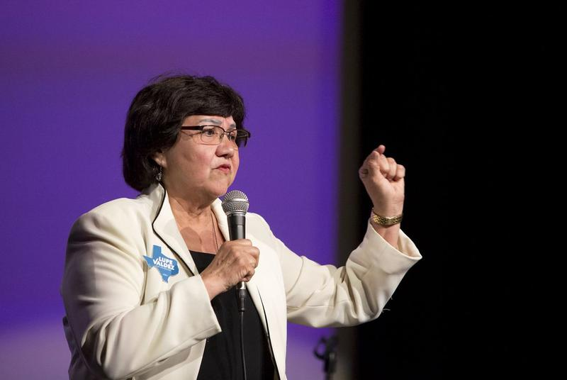 Lupe Valdez, who won the Democratic nomination for governor on Tuesday, addresses a Jolt the Vote event in Austin.