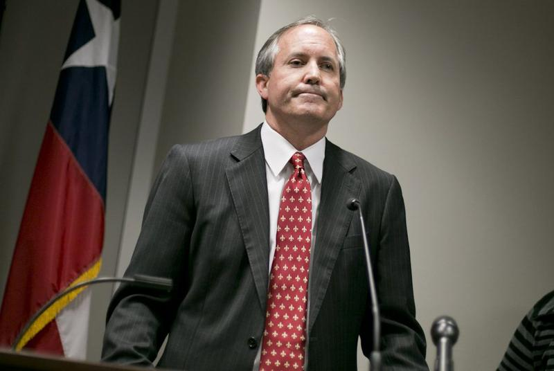 Texas Attorney General Ken Paxton at a press conference in January.