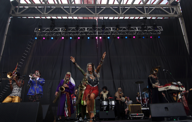 Golden Dawn Arkestra performs at the 360 Amphitheater during the 2015 X Games in Austin.