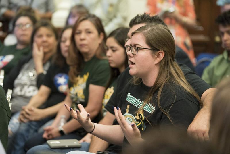 Santa Fe High Senior Grace Johnson speaks during a roundtable discussion with Gov. Greg Abbott and others at the Capitol on Thursday.