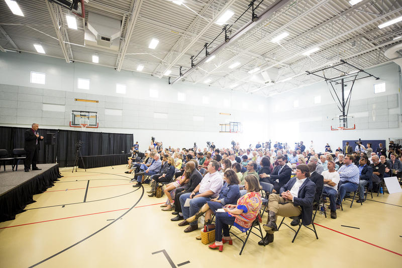 Interim Austin Police Chief Brain Manley speaks during a forum last month to allow the community to share questions and concerns about his potential appointment as permanent chief.