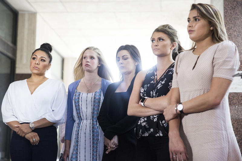 Gymnasts Jeanette Antolin, Autumn Blaney, Jamie Dantzscher, Lindsey Lemke and Kayla Spicher look on during a press conference calling for the Texas Attorney General's Office to take action against Olympic coaches Bela and Martha Karolyi.