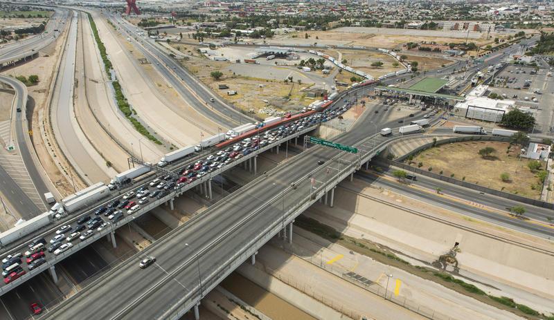 An aerial view of the Bridge of the Americas POE El Paso Texas.