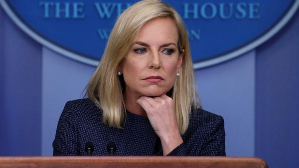 Homeland Security Secretary Kirstjen Nielsen, the face of the Trump administration's policy of splitting up migrant families, was heckled inside a Mexican restaurant. She's seen here at Monday's daily briefing at the White House.