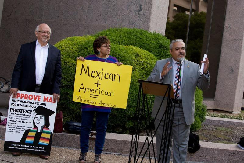 State Board of Education member Ruben Cortez speaks at a rally outside the Texas Education Agency calling for a new course to be named Mexican-American Studies.