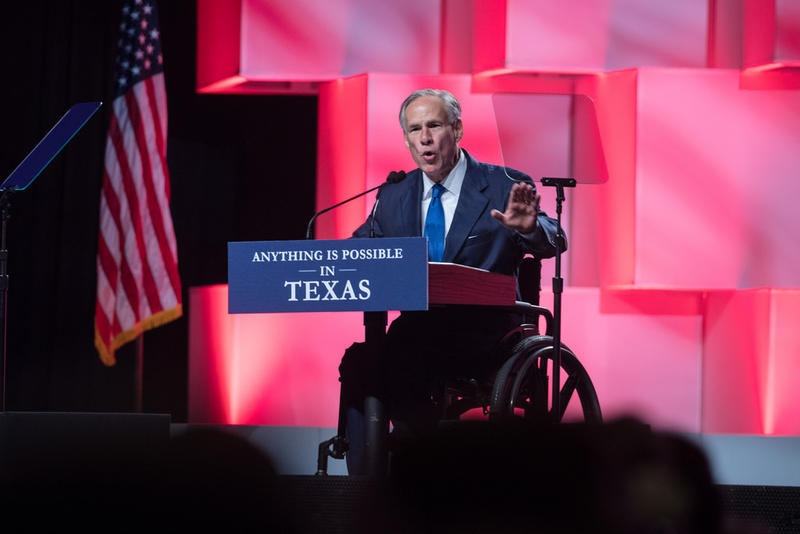 Gov. Greg Abbott addresses delegates at the Texas GOP Convention in San Antonio earlier this month.