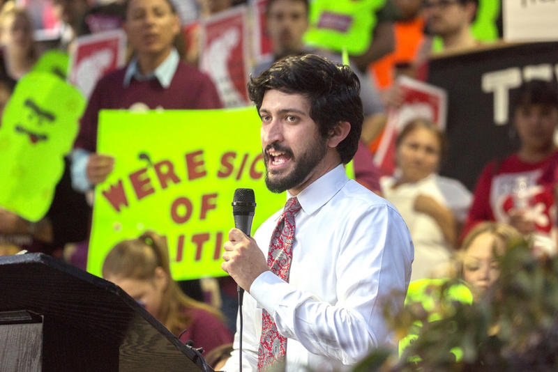 Council Member Greg Casar speaks to the crowd during a rally for a paid sick leave ordinance, at City Hall in Feburary. The measure passed 9-2.
