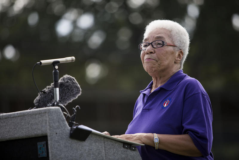 Ora Houston speaks at a ceremony last year to mark the renovation of Downs Field. The District 1 representative announced today she will not seek re-election in the fall.